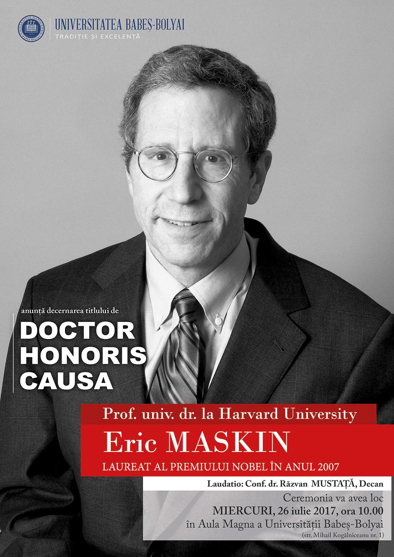 Eric Maskin va primi titlul de Doctor Honoris Causa din partea UBB