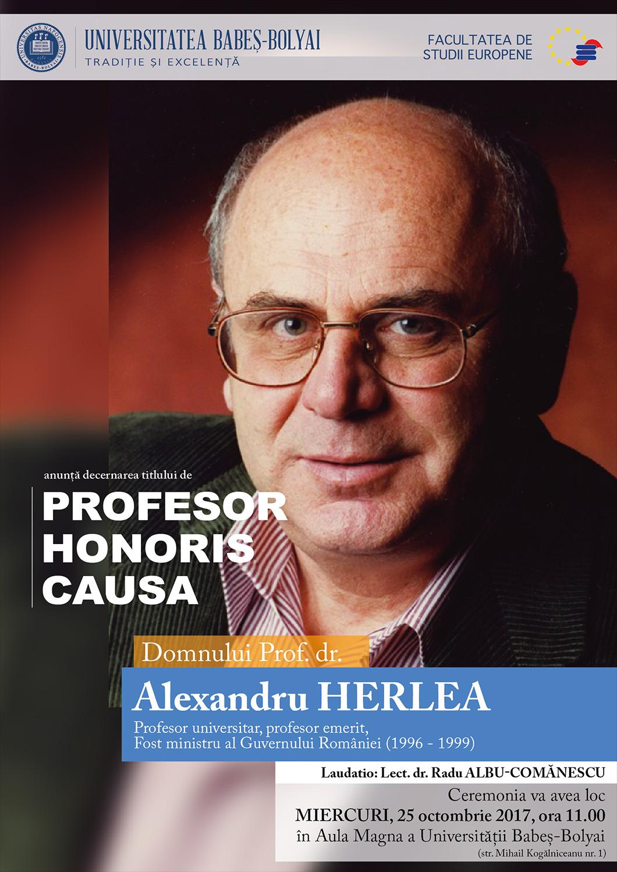 Alexandru Herlea va primi titlul de Doctor Honoris Causa din partea UBB