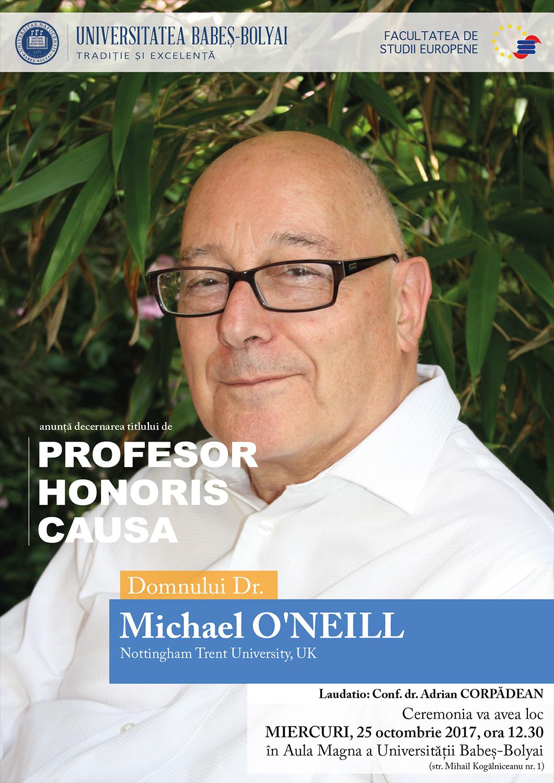 Michael O'neill va primi titlul de Doctor Honoris Causa din partea UBB