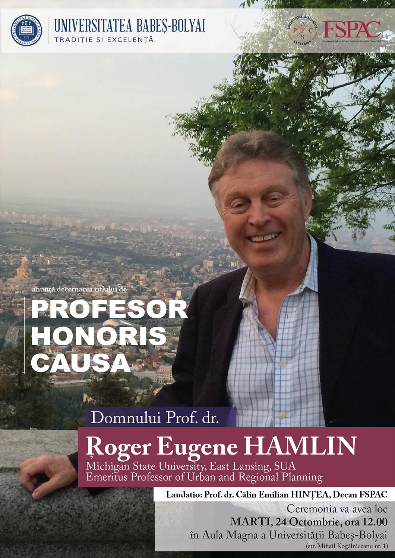 Roger Eugene Hamlin va primi titlul de Doctor Honoris Causa din partea UBB
