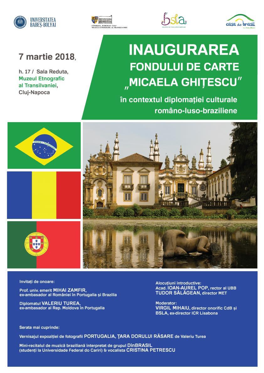 Inaugurarea Fondului de Carte Micaela Ghițescu în contextul diplomației culturale româno-luso-braziliene