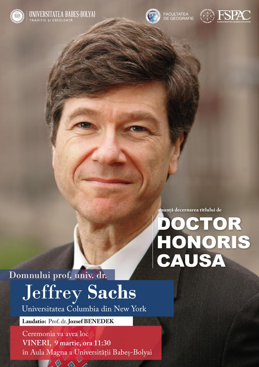 Jeffrey Sachs va primi titlul de Doctor Honoris Causa din partea UBB