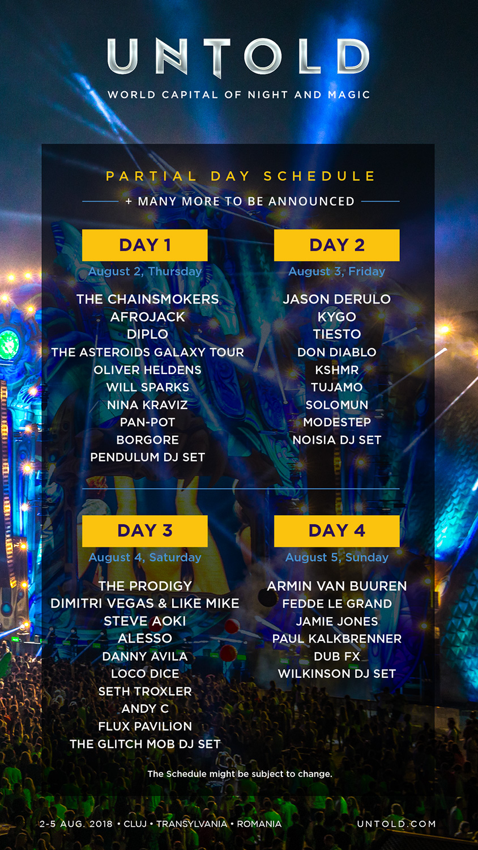 Programul parțial pe zile al festivalului UNTOLD (2018)