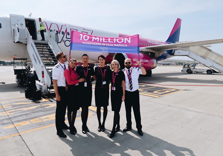 Wizz Air sărbătorește zece milioane de pasageri în Cluj-Napoca