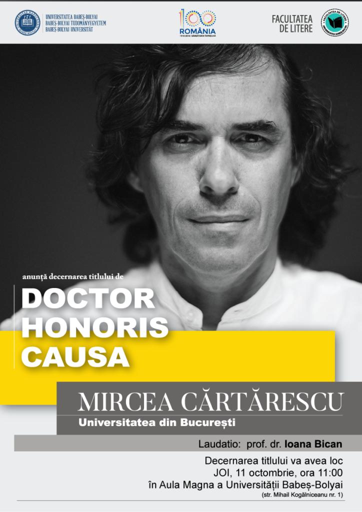 Mircea Cărtărescu va primi titlul de Doctor Honoris Causa din partea UBB