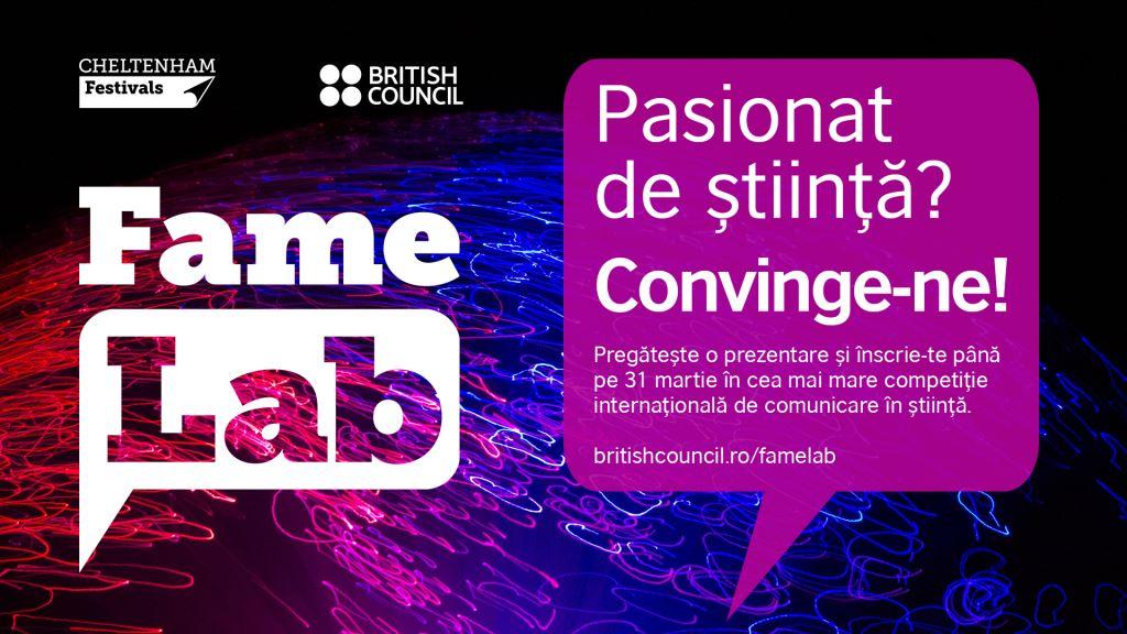 FameLab, cea mai importantă competiție internațională de comunicare a științei – deschisă pentru studenții și cercetătorii români