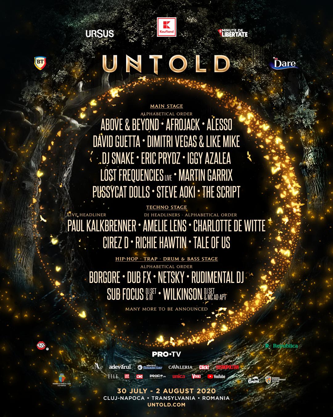 Premieră în România:The Pussycat Dolls, Iggy Azalea, Eric Prydz, Amelie Lens și Charlotte de Witte la Untold 2020