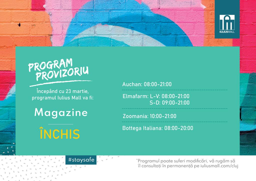 Activitatea Iulius Mall Cluj suspendată temporar – Hypermarketul Auchan, farmaciile, curățătoria și pet shop-ul rămân deschise