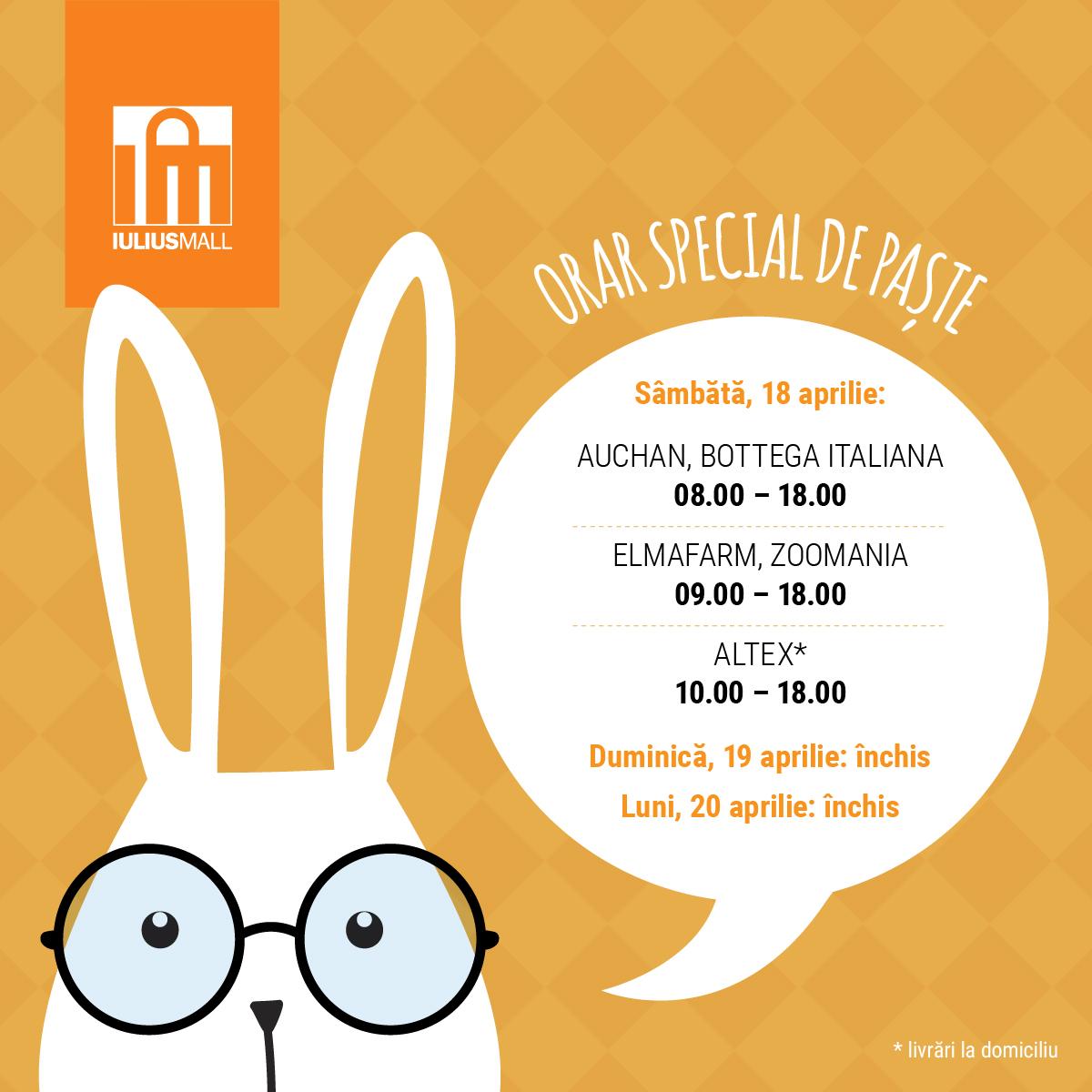 Program special de Paște al magazinelor deschise din Iulius Mall Cluj