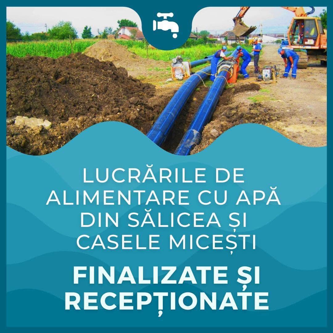 Au fost recepționate lucrările de alimentare cu apă a localităților Casele Micești și Sălicea