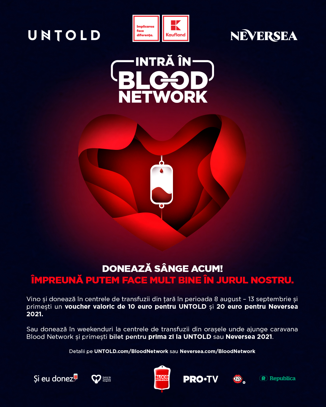 Donează sânge și mergi la UNTOLD sau Neversea