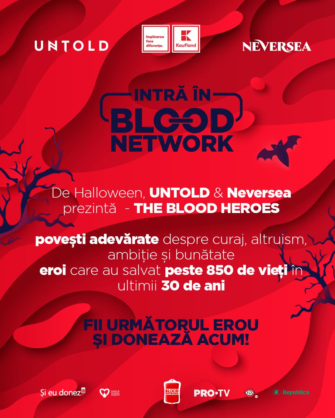 De Halloween, UNTOLD și Neversea prezintă patru oameni care spulberă mitul vampirului și salvează vieți prin donarea de sânge