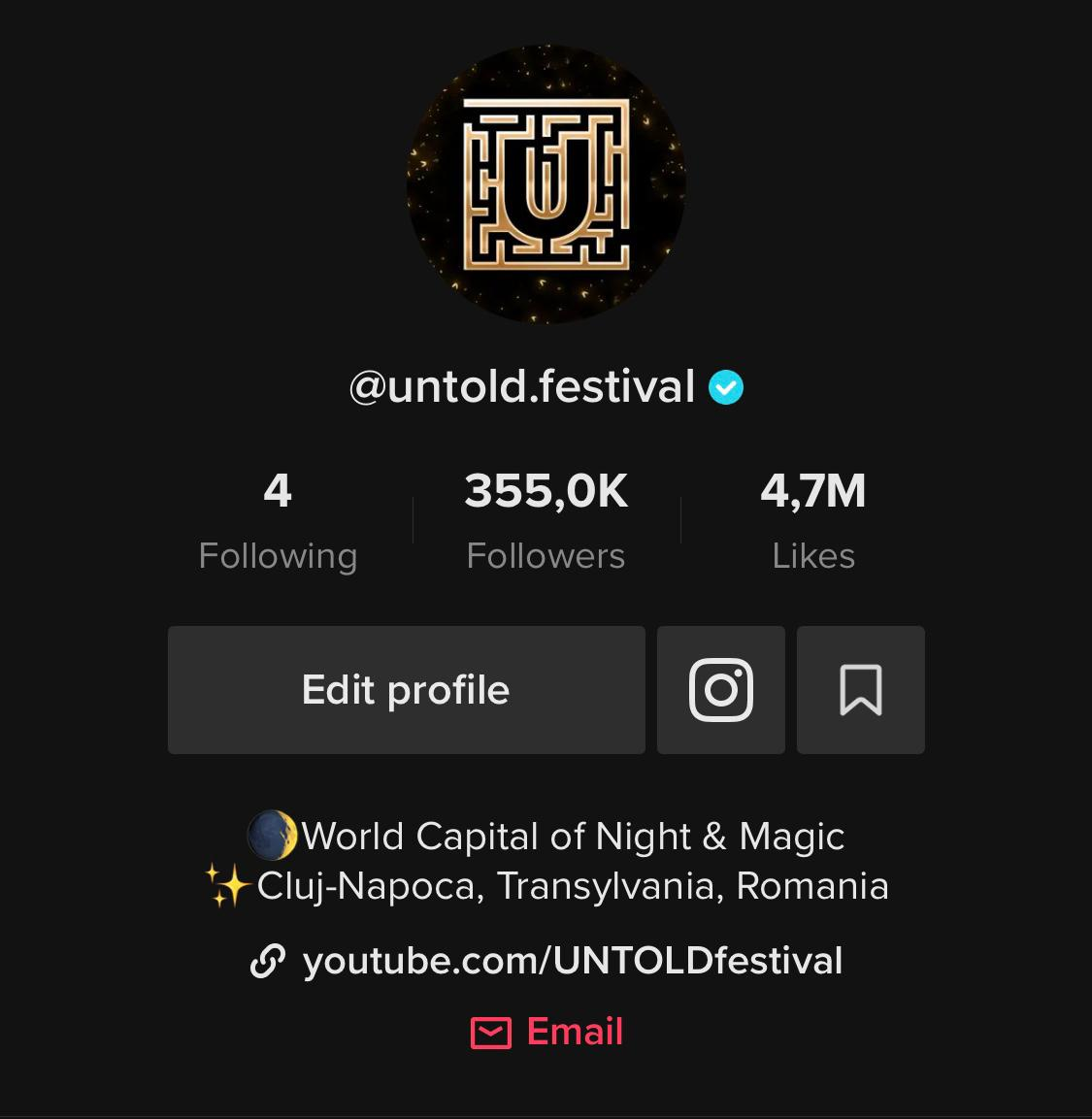 UNTOLD este cel mai urmărit brand românesc în întreaga lume pe TikTok