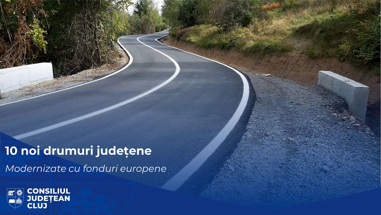 Zece noi drumuri județene vor fi complet modernizate de Consiliul Județean Cluj, cu fonduri europene