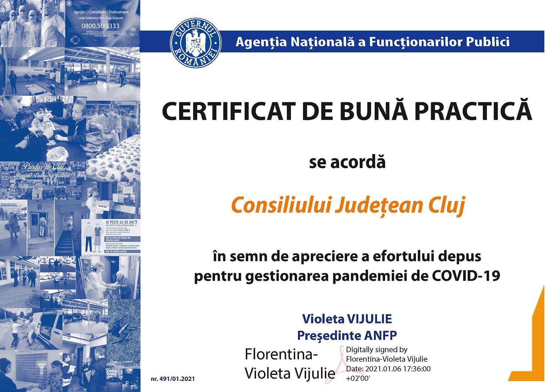 Consiliul Județean Cluj, recunoaștere oficială pentru implicarea în gestionarea pandemiei COVID-19