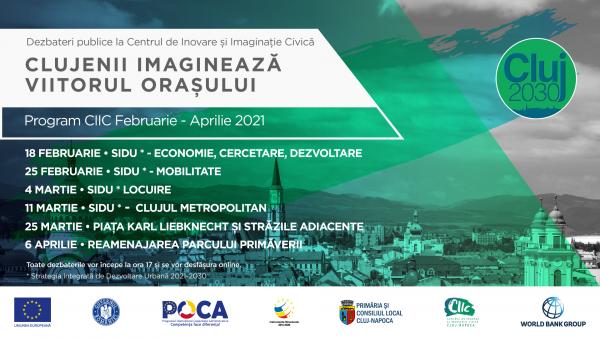 Primăria Municipiului Cluj-Napoca organizează noi dezbateri publice online la Centrul de Inovare și Imaginație Civică