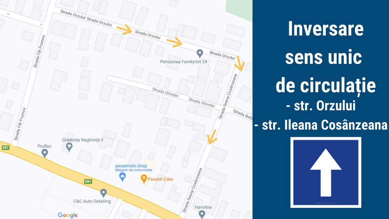Inversare sens unic de circulație în municipiul Cluj-Napoca