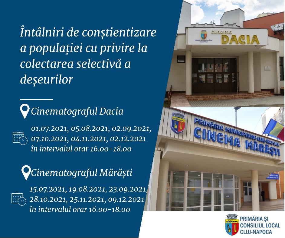 Primăria municipiului Cluj-Napoca organizează întâlniri de conștientizare a populației cu privire la colectarea selectivă a deșeurilor